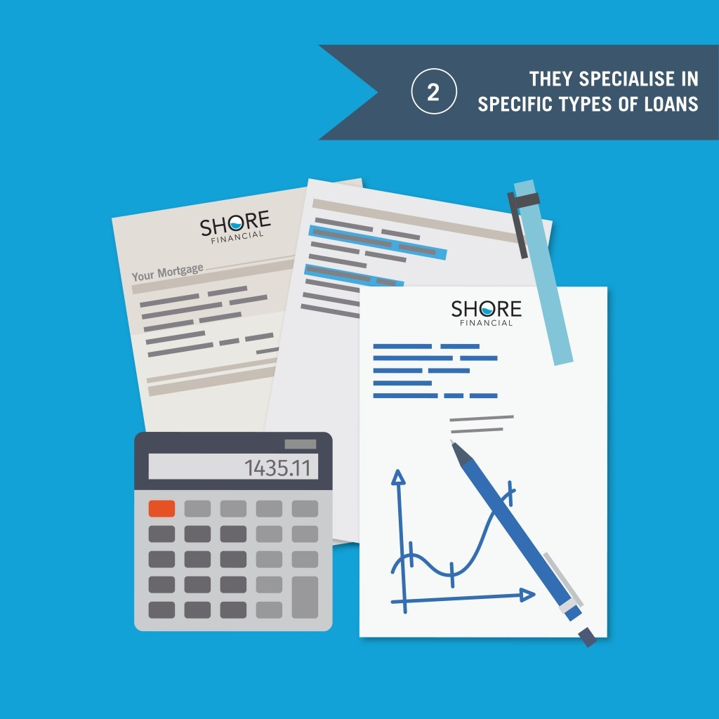 They specialise in specific types of loans